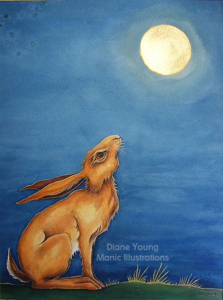 Painting of a moongazing hare with gold leaf foil moon by artist Diane Young