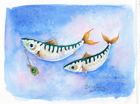 Painting of a pair of mackerel and an emerald and gold locket by artist Diane Young