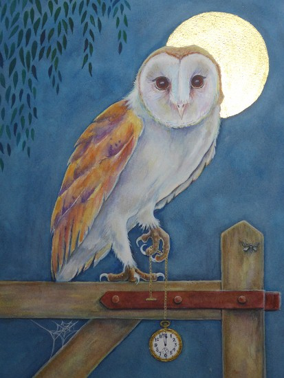 Painting of a barn owl by artist Diane Young of Manic Illustrations