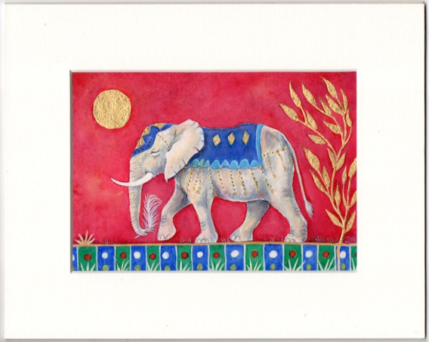 Decorated Elephant painting with Gold Leaf by Stroud artist Diane Young