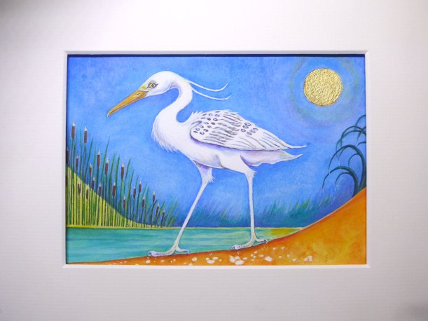 Painting of an Ibis representing Thoth in Greek mythology with a gold moon by artist Diane Young