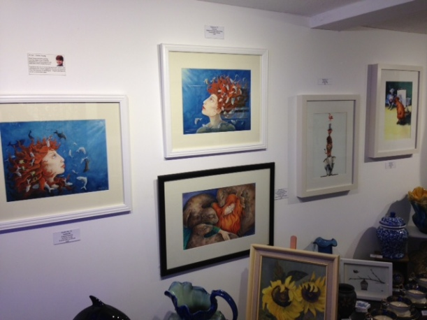 Studio no 71 Totnes display of mythological Sedna Artwork by artist Diane Young