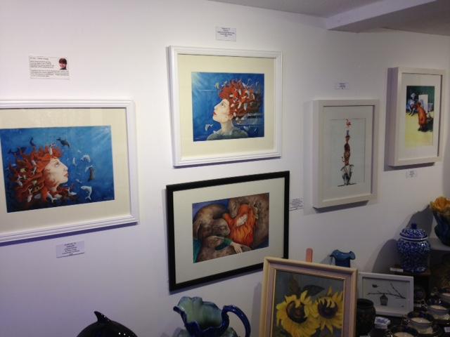 Studio no 71 Totnes display of mythological Sedna Artwork by artist Diane Young