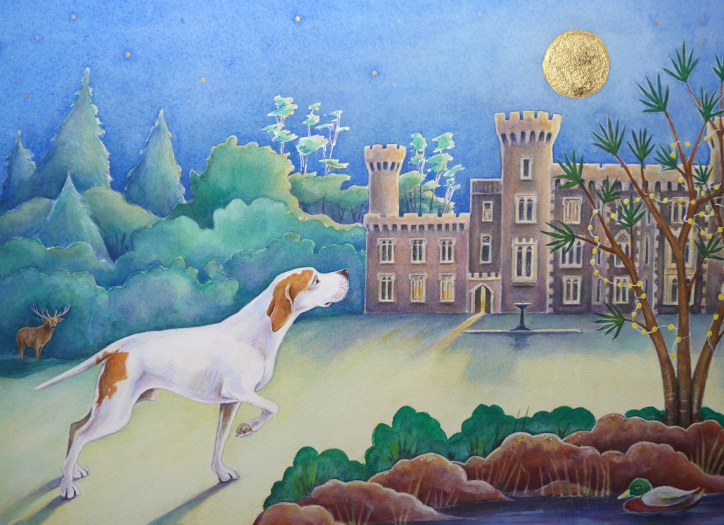 Painting of a pointer, commission by Diane Young Artist of Manic Illustrations Stroud