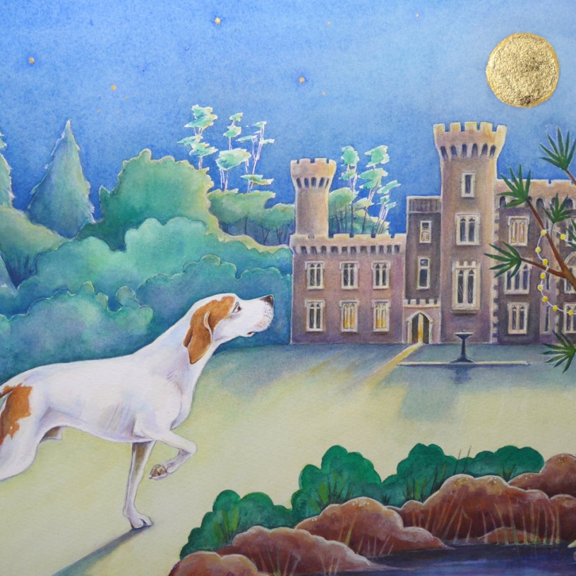 Commission of an English Pointer painting with gold leaf by artist Diane Young of Manic Illustrations Stroud