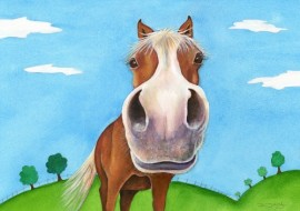 Painting of a Nosey Horse by artist Diane Young of Stroud also at Studio No 71