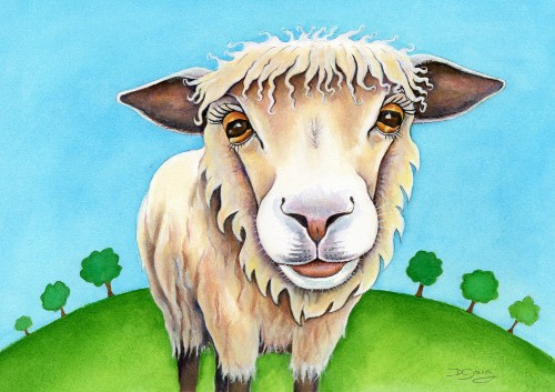Painting of a Nosey Sheep by Diane Young of Manic Illustrations Stroud and Studio No 71
