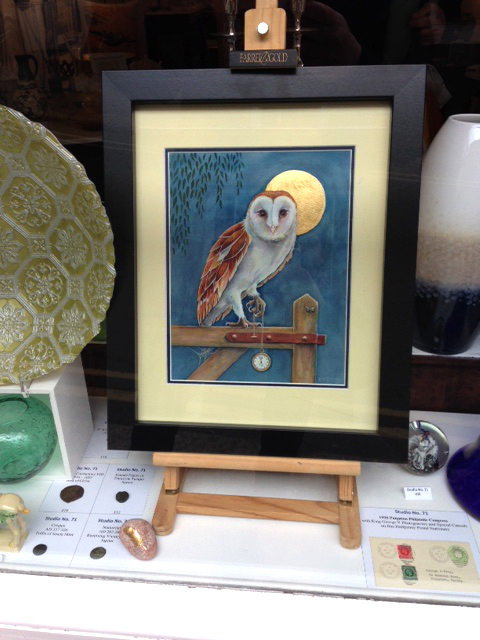 Barn Owl with gold leaf by artist Diane Young at Studio No 71 Totnes