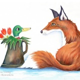 Duck in the Jug with Fox Painting by Artist Diane Young Stroud Manic Illustrations