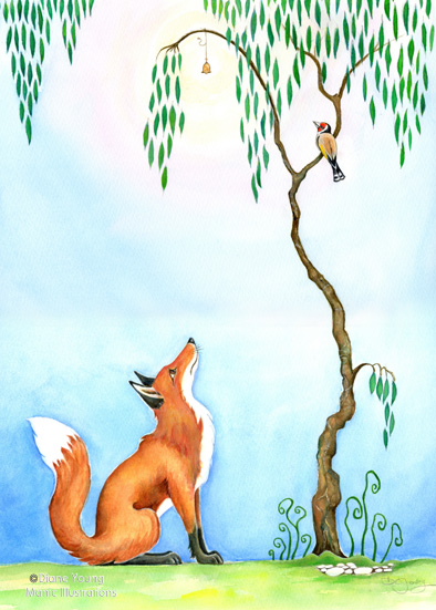 Painting of a fox, a goldfinch with a storyline by artist Diane Young Stroud