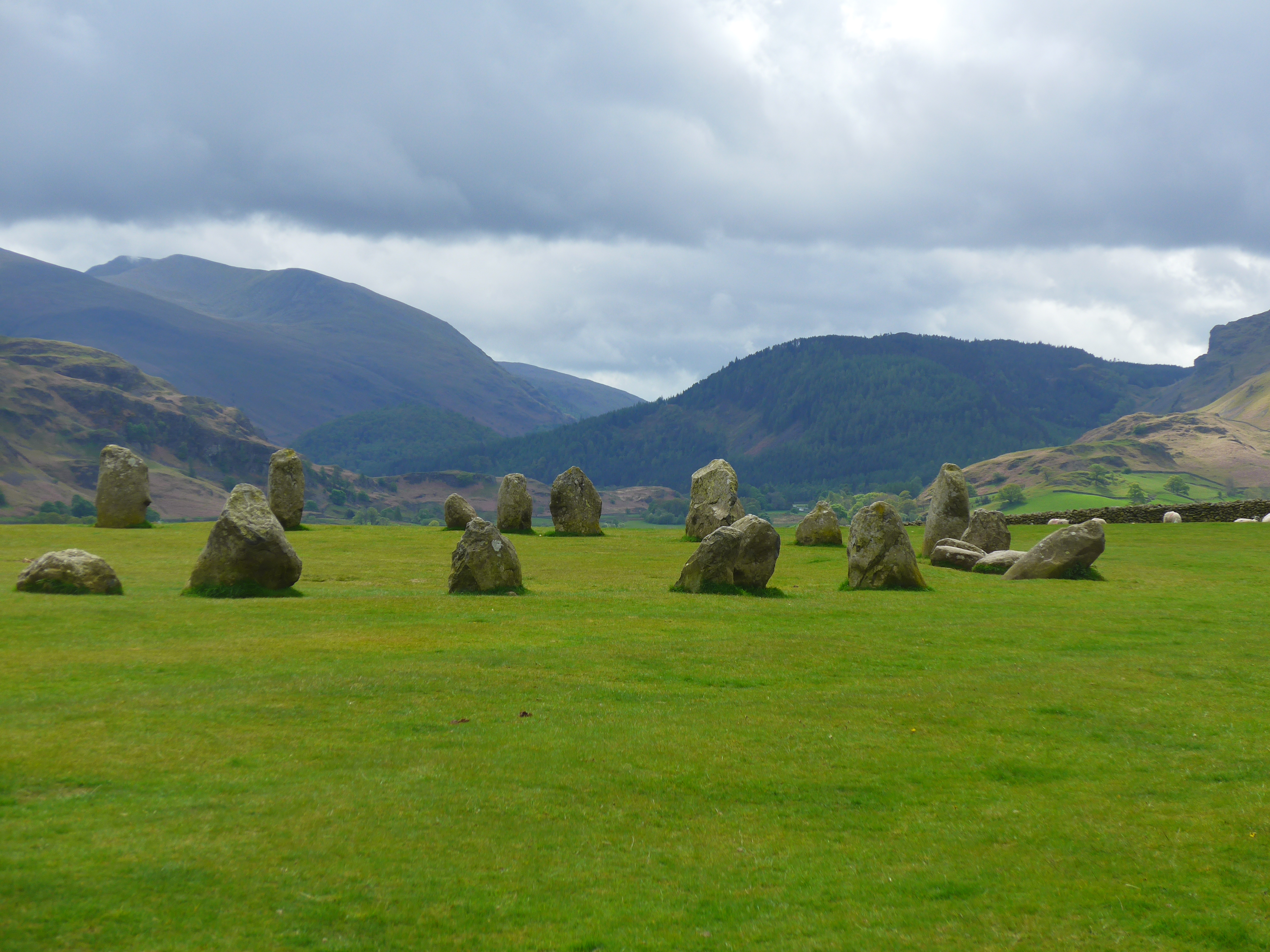Ancient Stone Circle near Keswick Lake District surrounded by a ring of mountains