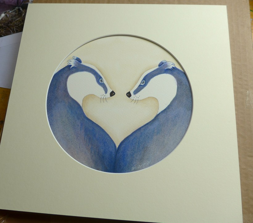 Badger Love original art by artist Diane Young Manic Illustrations Stroud UK