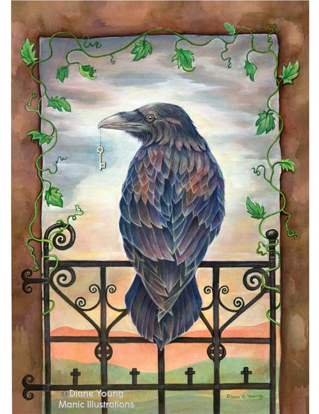 Raven with Key in gateway painting by artist Diane Young from Stroud Manic Illustrations