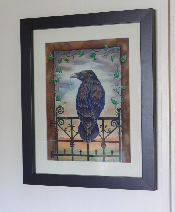 Painting framed of a raven and key gothic art by Diane Youn