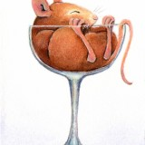Painting of a Mouse in a Champagne Glass by artist Diane Young manic illustrations