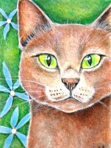 Print of a Painting of a Cat with Green Eyes by artist Diane Young Stroud
