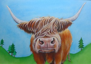 Highland Cow Painting by artist Diane Young Stroud