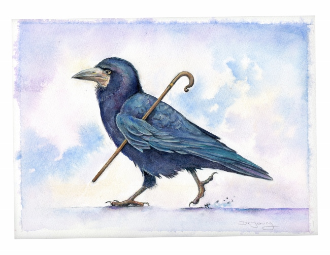Painting of a Rook Bird by artist Diane Young