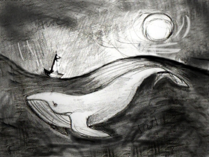 Whale and Moon Sketch for Painting art by Diane Young