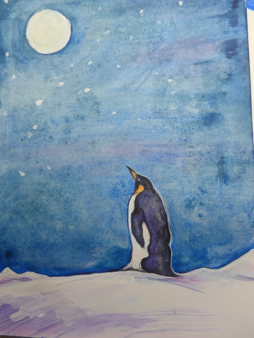 Painting of an Emporer Penguin gazing at the moon by Artist Diane Young Stroud