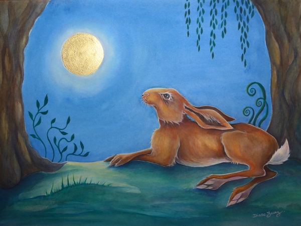 Moongazing hare lying down by artist Diane Young Manic Illustrations STroud