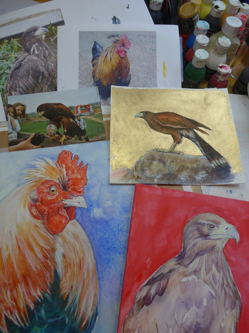 Bird Paintings Harris Hawk Cockerel Hen Chicken Birds Prey Gold Leaf