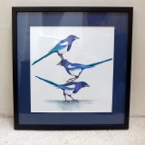 Painting of a 3 Magpies in a Black Frame by artist Diane Young