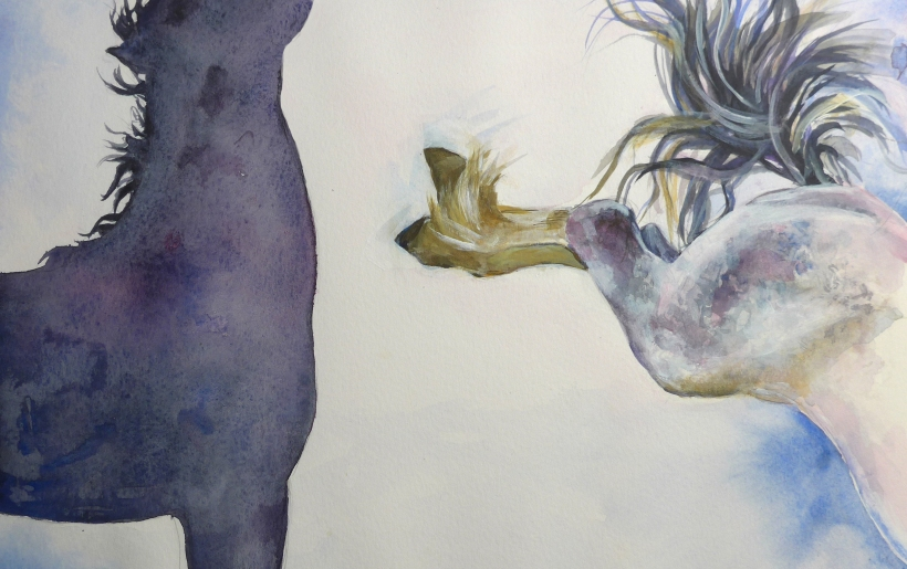 Painting of horses fighting by artist Diane Young