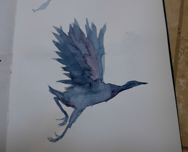 Painting of an Ibis or Crane with a Chinese Brush by artist Diane Young