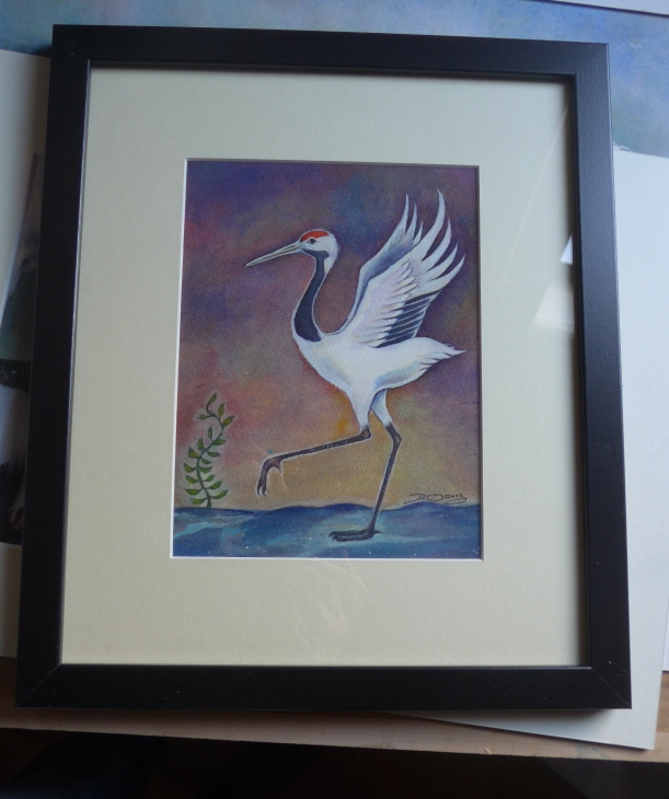 Painting of a dancing stepping crane by artist Diane Young Stroud