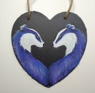 18cm x 18cm Slate Heart with Original Painting of Two badgers by artist Diane Young