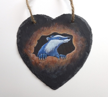 15cm x 15cm Slate Heart with Original Painting of a Badlger by artist Diane Young