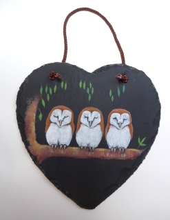 15cm x 15cm Slate Heart with Original Painting of Baby Owls by artist Diane Young