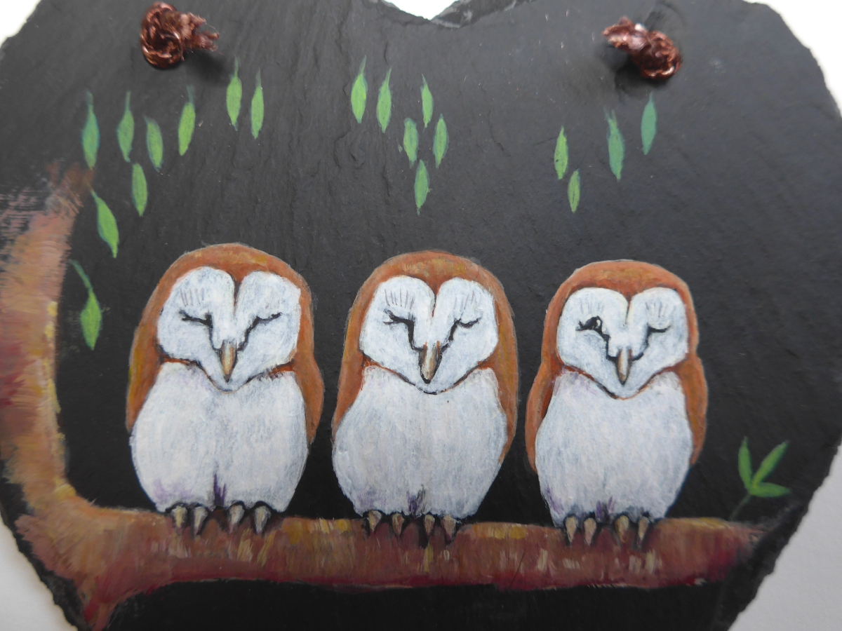 Close Up of a Slate Heart with Original Painting of Baby Owls by artist Diane Young