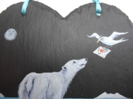 18cm x 18cm Slate Heart with Original Painting of a Polar Bear by artist Diane Young