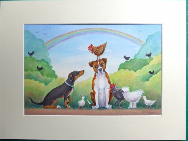 Painting of a stylised character dog pet portrait and some chickens and ducks by artist Diane Young of Stroud