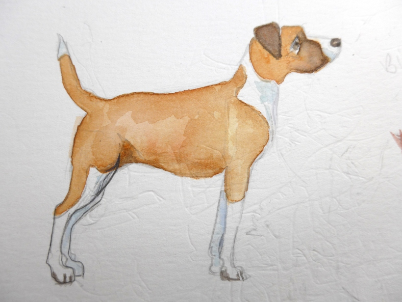 Practice painting of a dog by artist Diane Young