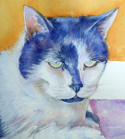 Painting of a cat with a light approach to painting by artist Diane Young