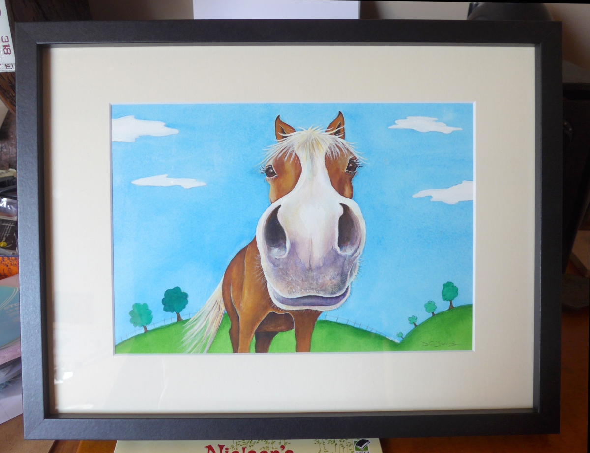 Nosey Horse Painting in a frame by artist Diane Young