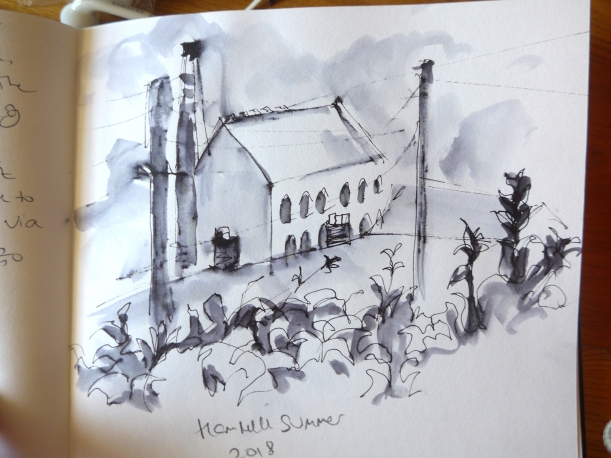 Sketch in ink pen by artist Diane Young of cotswold mill