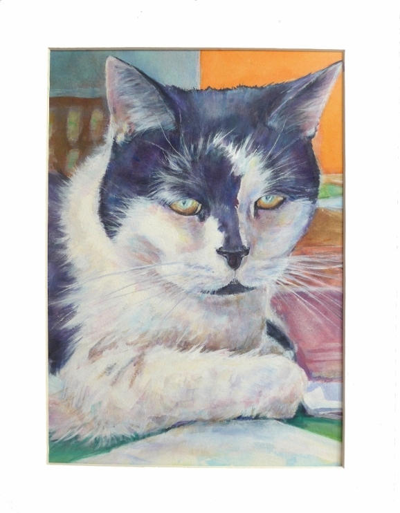 Portrait painting of a black and white cat called Patch by artist Diane Young