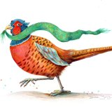 Painting of a pheasant with an emerald and gold scarf in his beak