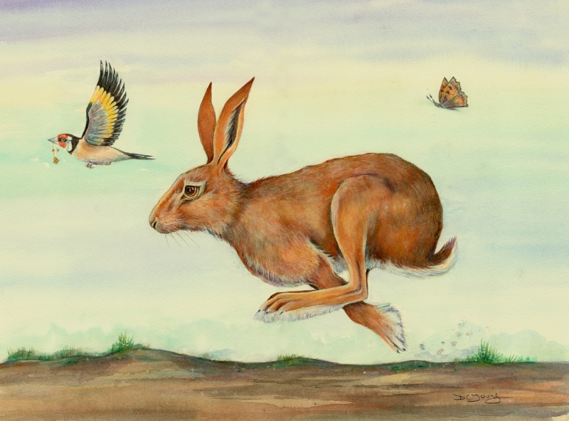 Painting of a Goldfinch carrying a golden bell with a butterfly and running hare by artist Diane Young