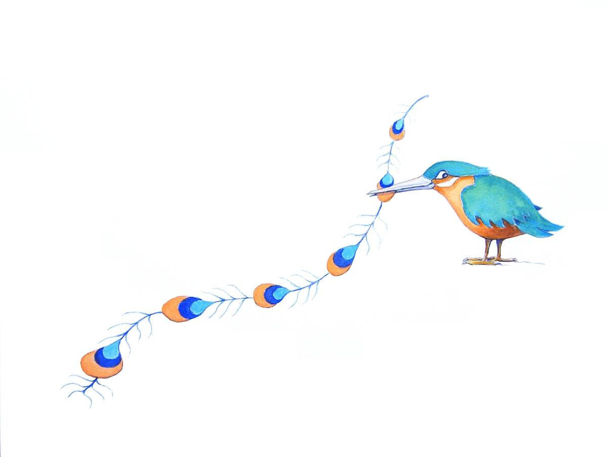 Painting of a Kingfisher and peacock feather about a tale of jealousy by Diane Young