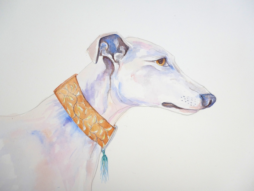 Greyhound painting by artist Diane Young for EGLR charity event