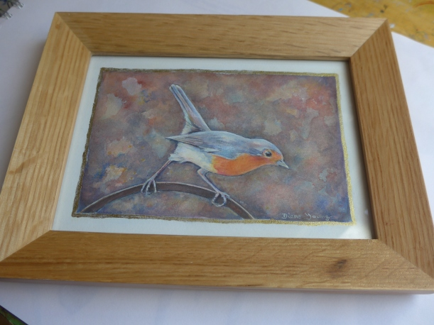 Original Robin painting in a frame by Diane Young artist