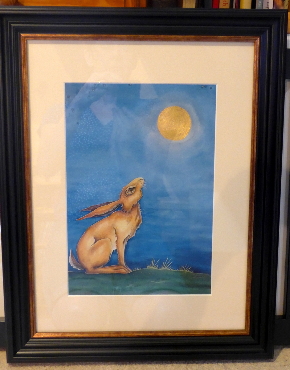 Moongazing Hare LE Print with gold leaf and frame with gold edge.