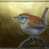 Painting of a wren with a gold leaf background by Diane Young