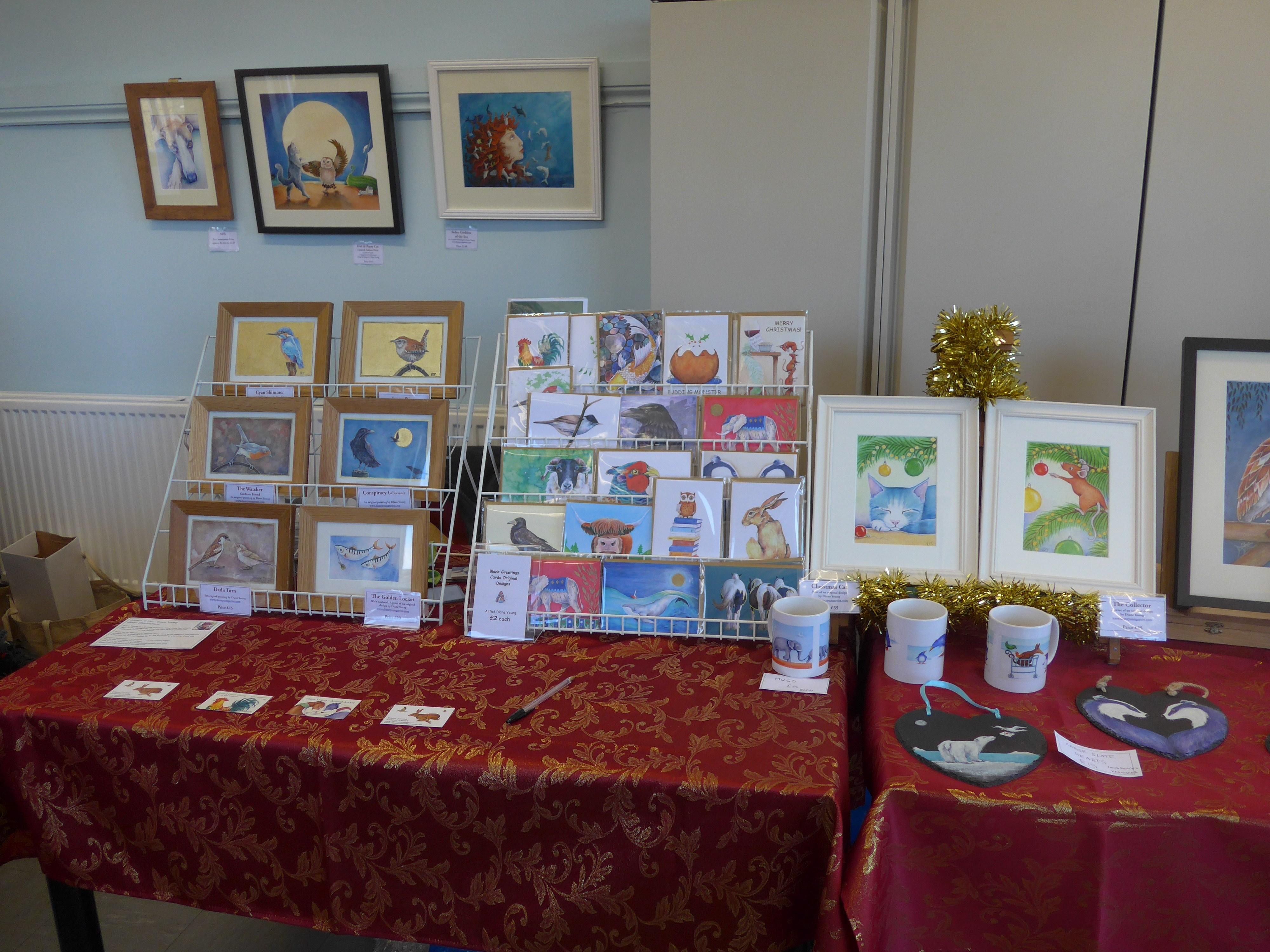 Cards, paintings and prints by artist Diane Young at Kingshill House Dursley Xmas Fayre