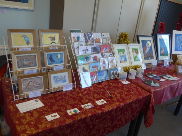 Display of artwork by Diane Young at a Christmas Fayre at Kingshill House